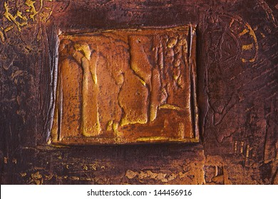 abstract relief oil painting, square motive on canvas with surrounding fragments of time and sun symbols, burnt sienna