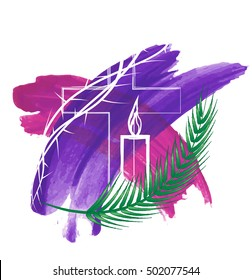 Abstract religious Lent symbols on purple watercolor background - cross and a candle, with thorns and palm branch