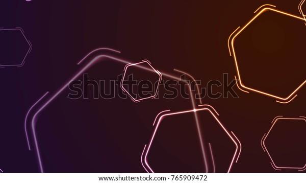 Abstract Retro 80s Neon Shiny Hexagons Stock Illustration ... on