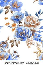 Abstract retro wallpaper with a bouquet of flowers, a blue rose and a branch of lilac,brown  leaves and buds on a white background
