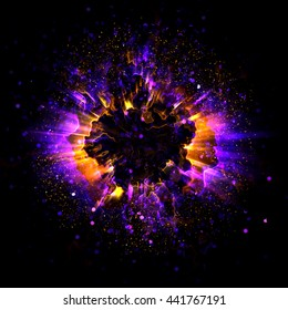 Abstract ring background with luminous swirling backdrop. Glowing spiral. The energy flow tunnel. shine round frame with light circles light effect. Image of color atoms and electrons. Physics concept