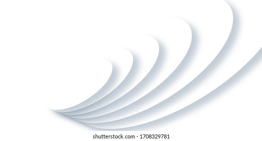 Abstract ripple effect on white background. circle shape with shadow in paper cut style