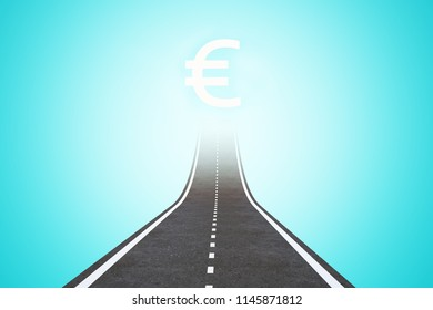 Abstract road with euro sign on blue background. Direction and investment concept. 3D Rendering
