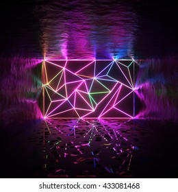 Abstract room and tessellated wall with neon glowing crack lines. Interior design. Architectural space 3d illustration