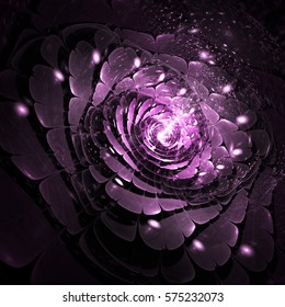 Abstract rose flower with bright sparks on black background. Fantasy fractal design in pink colors. Psychedelic digital art. 3D rendering.
