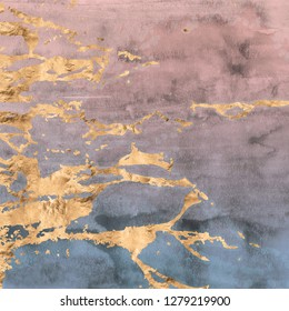 Abstract rose gold marbled veins are overlaid on an ombre watercolor texture in a soft pink and blue gradient effect.