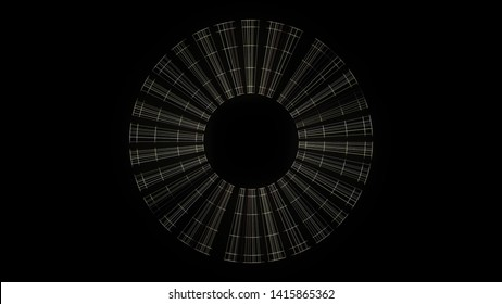 Abstract rotating transparent ray frames on black background, seamless loop. Animation. Shimmering spinning blades around black circke picking up speed.