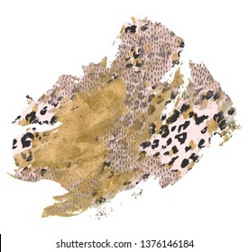 Abstract rough brush stroke with grunge, shiny rose gold foil textures, animal skin print, leopard fur spots background. Art surface design with glitter effect