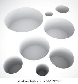 abstract round holes on a white background