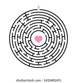 Abstract round maze. An educational game for children and adults. Simple flat  illustration  on white background