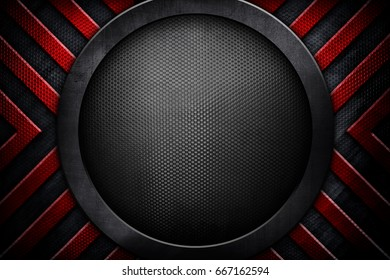 abstract round metal with striped background