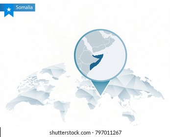 Abstract rounded World Map with pinned detailed Somalia map. Raster copy.
