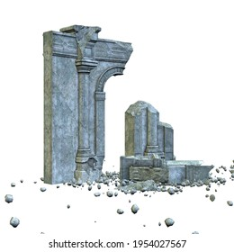 Abstract ruined ancient building, 3d digital rendered illustration.