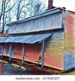 Abstract Rural Blues Music Juke Joint Barrelhouse  Side View With Vacant Chair On Porch In Bright Pastel
