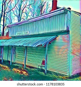 Abstract Rural Blues Music Juke Joint Barrelhouse  Side View With Vacant Chair On Porch In Aqua Green