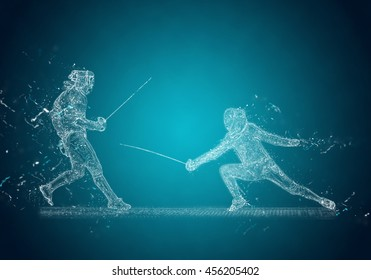 Abstract Sabre Fencers. Crystal ice effect