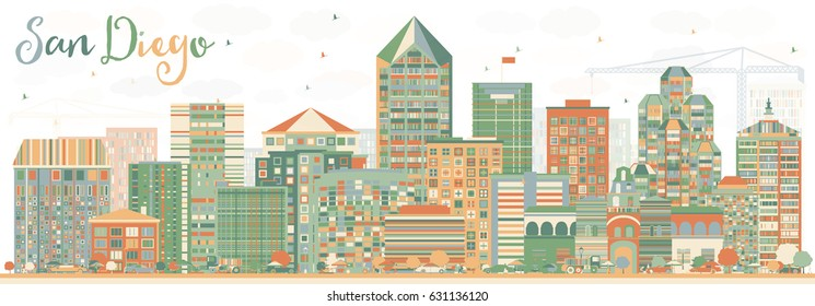 Abstract San Diego Skyline with Color Buildings. Business Travel and Tourism Concept with Modern Architecture. Image for Presentation Banner Placard and Web Site.