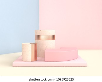 abstract scene 3d rendering blue pink wall geometric shape set