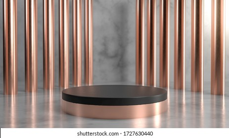 Abstract scene with black and copper stage, pedestal or podium over marble background with golden columns. 3d render. Classical antique style. Perfect image for fashion, clothes or cosmetics. Place