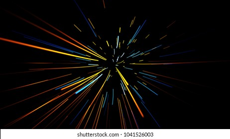 abstract scene of flight in space, space traveling, time machine, abstract background illustration