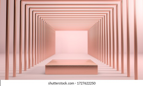 Abstract scene with golden square stage,podium or pedestal over pink background in tunnel made of golden shapes. 3D illustration. Background for presenting your product, identity or packaging