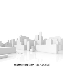 Abstract schematic 3d cityscape isolated on white background, square composition with free copy space area