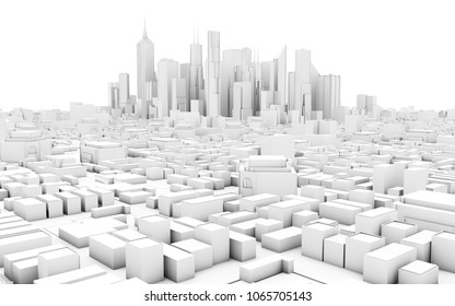 abstract schematic 3d rendering of a modern city