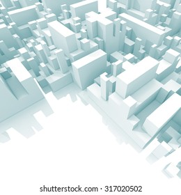 Abstract schematic light blue 3d cityscape with soft shadows