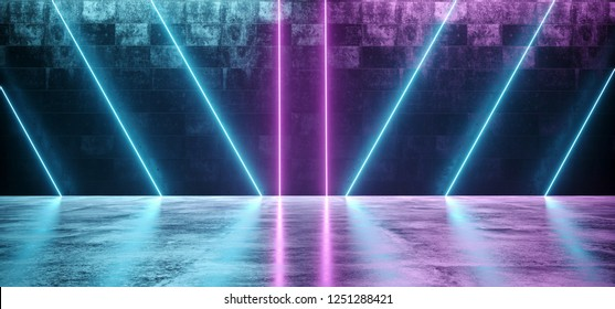 Abstract Sci Fi Futuristic Modern Vibrant Glowing Neon Purple Pink Blue Laser Tube Lights In Long Dark Empty Grunge Texture Concrete Tunnel Background 3D Rendering Illustration