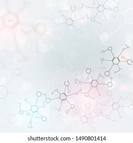 abstract science bright background with chemistry elements