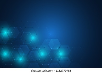 Abstract science and technology concept from hexagonal elements. Polygonal geometric design with hexagons pattern. Hi-tech digital background