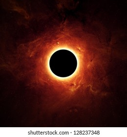 Abstract scientific background - full eclipse, black hole. Elements of this image furnished by NASA/JPL-Caltech