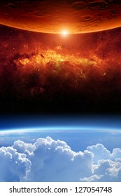 Abstract scientific background - planet earth red aliens planet, red galaxy. Elements of this image furnished by NASA/JPL-Caltech