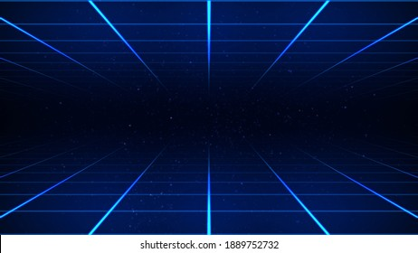 Abstract sci-fi grid or wireframe net. Dark space and stars on the background. Bright glowing neon lights. Hight technology background. Blue colored wallpaper. Retro wave synthwave 3D illustration