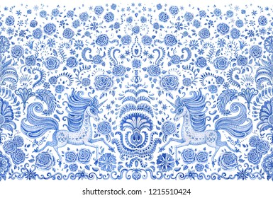 Abstract seamless border, blue watercolor unicorn print on a white background. Floral pattern from hand drawn rose flowers, fantasy leaves and fairy tale animal, ornate cute horse. Scarf, wallpaper