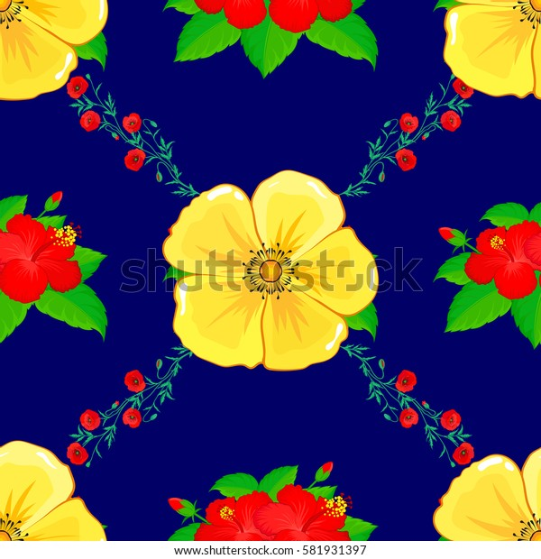 Abstract seamless floral background. Sketch with many abstract colored flowers on a blue background. Hand drawn seamless flower sketch. Yellow cosmos flowers with red poppy and hibiscus with leaves.