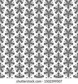 Abstract seamless floral pattern with black flowers on white background