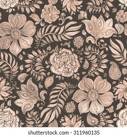 Abstract seamless floral pattern of dark beige and brown colored hand drawn by pencil outline fantasy leaves, flowers and curly branches on a dappled black background. Thanksgiving Day  decoration