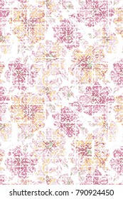 Abstract seamless floral pattern houndstooth design Grunge  background. Floral pattern with watercolor effect. Textile print for bed linen, jacket, package design, fabric and fashion concepts.