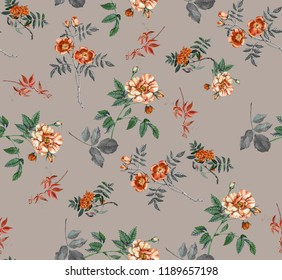 Abstract seamless floral pattern with of red roses and pink and blue freesia on black background