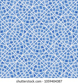 Abstract  seamless geometrical pattern with blue watercolor texture on a light grey background. Floor ceramic tile, wallpaper, wrapping paper, page fill in Mediterranean ceramic style