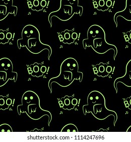 Abstract seamless halloween pattern for girls or boys. Creative pattern with ghost, cloud boo. Funny ghost wallpaper for textile and fabric. Fashion halloween style. Colorful bright picture