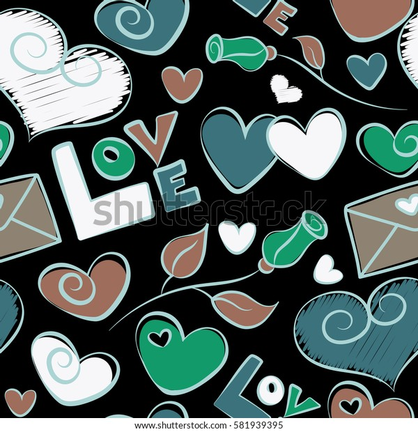 Abstract seamless heart pattern in green and brown colors. Doodle flower, hearts, love text and letter on a black background.