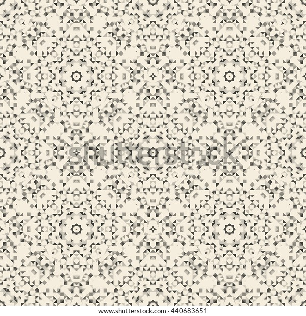 Abstract Seamless Light Yellow Geometric Pattern. Vintage Wallpaper Background. Mosaic Texture for Textile Print