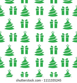 Abstract seamless new year pattern for girls, boys, clothes Creative new year background with gift, Christmas tree, wrap. Funny wallpaper for textile and fabric. Fashion new year pattern style.