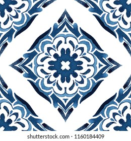 Abstract seamless ornamental watercolor arabesque paint tile pattern for fabric