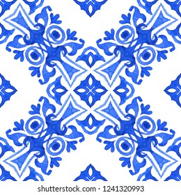 Abstract seamless ornamental watercolor arabesque medallion tile pattern for fabric