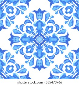 Abstract seamless ornamental watercolor paint tile pattern for fabric