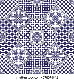 Abstract seamless patchwork background from dark blue and white ornaments, geometric Moroccan patterns, stylized flowers, brunches  and leaves