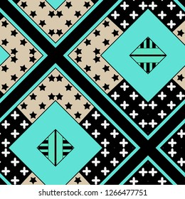 Abstract seamless patchwork pattern stars dots background
